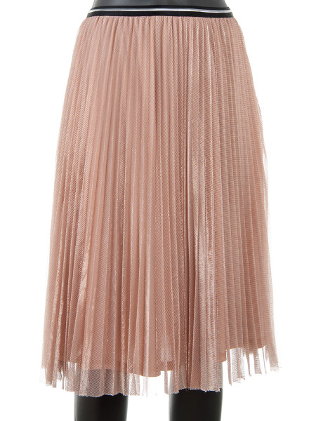 Nude Pink Pleated Glitter Skirt