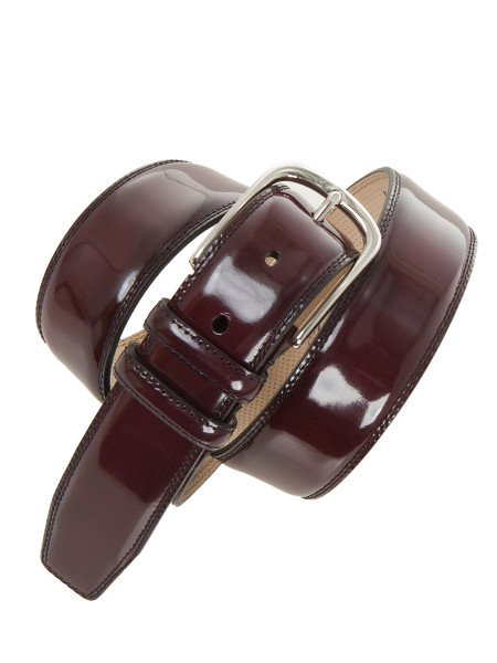 Elegant Glossy Bordeaux Leather Belt