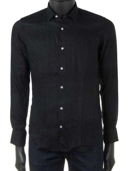 Black Pure Linen Shirt
