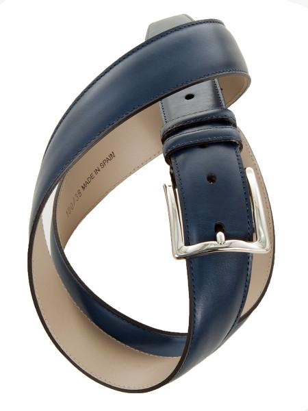 Classic Ocean Blue Leather Belt