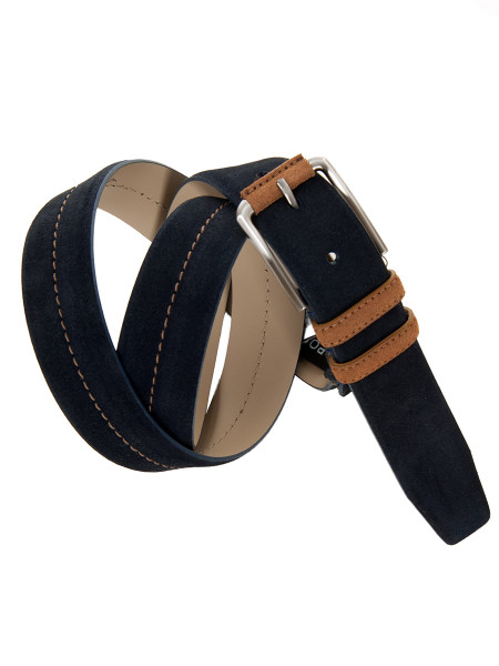 Navy Blue Suede Two Tone Belt