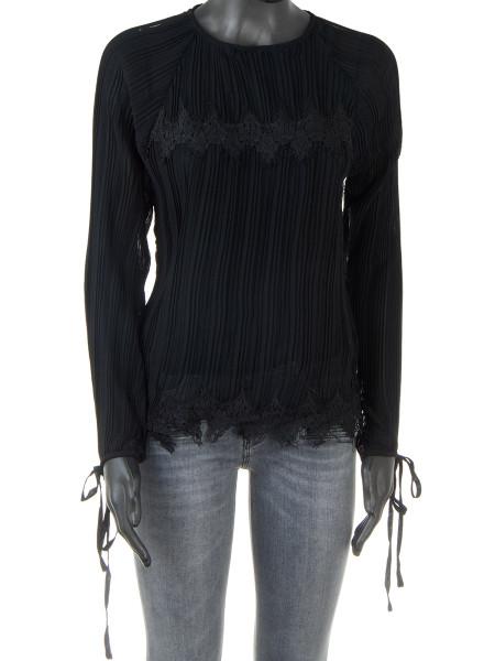 Black Pleated Lace Detail Blouse