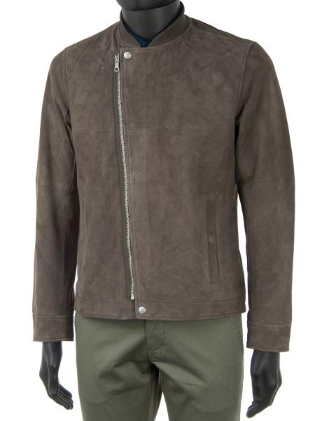 Olive Suede Bomber Jacket