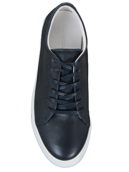Dark Blue Leather Sneakers