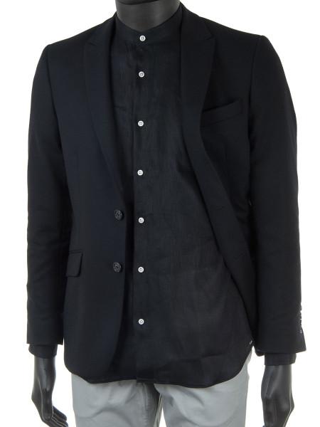 Black Linen Grandad Shirt