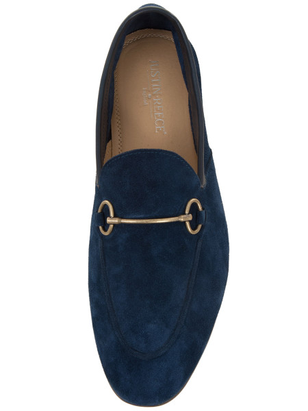 Navy Suede Horsebit Buckle Loafers