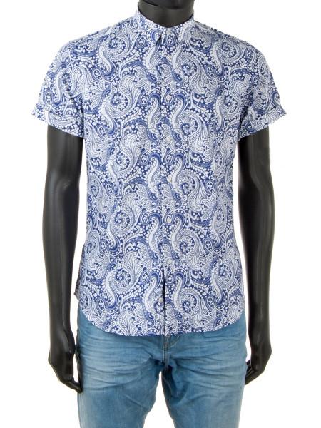 Dark Blue Paisley Patterned Shirt