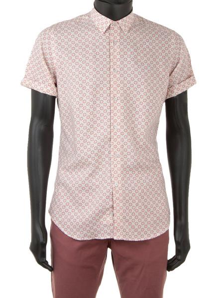 Linen Blend Dark Pink Flower Patterned Shirt