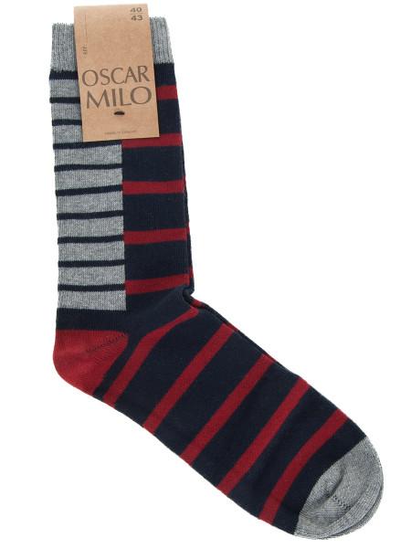 Red & Navy Striped Socks