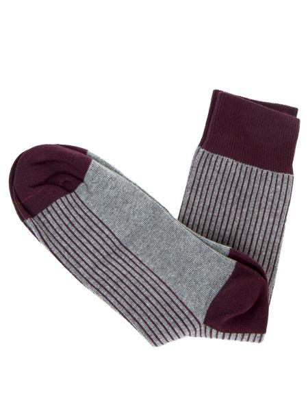 Grey & Bordeaux Striped Socks