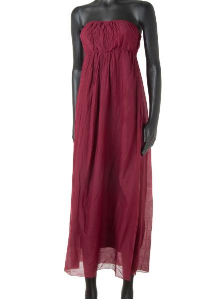 Dark Red Cotton & Silk Strapless Summer Dress