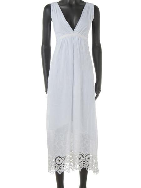 White Broderie Trim Cotton Summer Dress