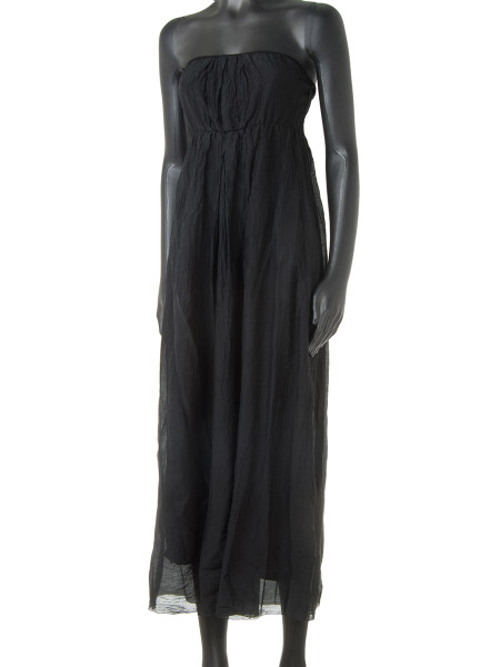 Black Cotton & Silk Strapless Summer Dress
