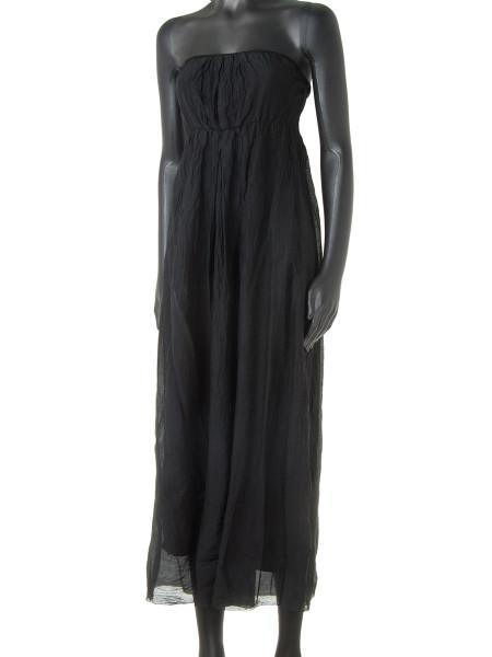 Black Cotton & Silk Strapless Summer Dress