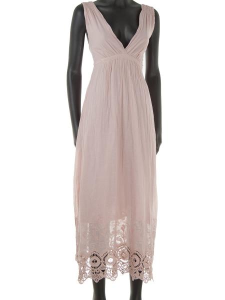 Light Pink Broderie Trim Cotton Summer Dress