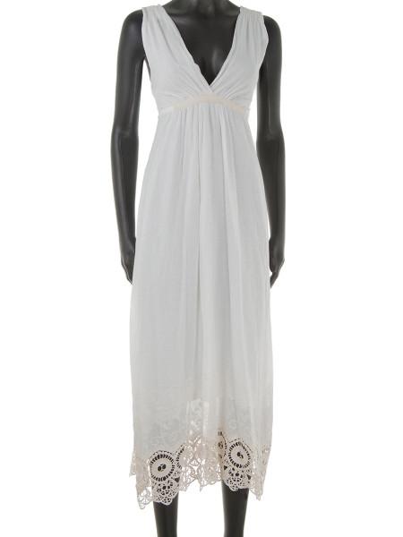Ecru Broderie Trim Cotton Summer Dress