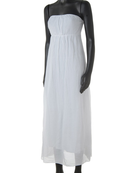 White Cotton & Silk Strapless Summer Dress