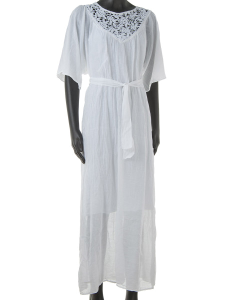 White Maxi Kaftan Dress