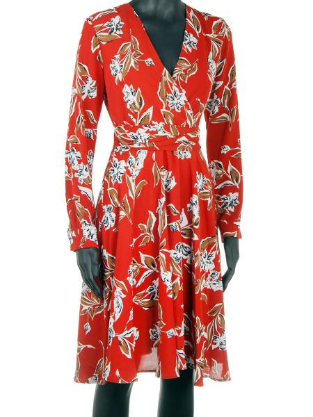 Red Patterned V-Neck Dress