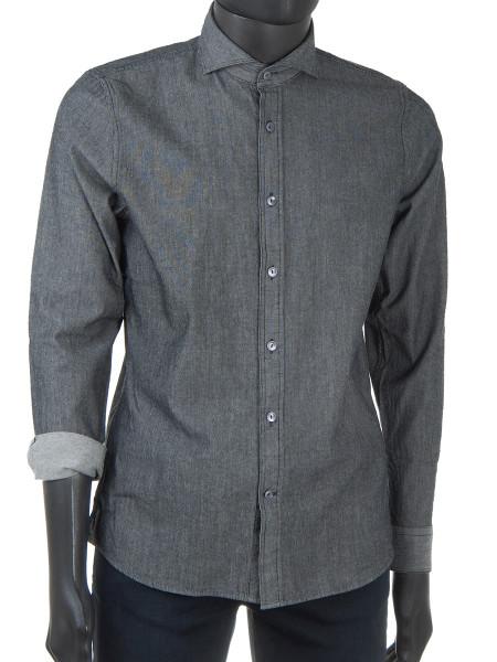 Grey Structured Denim Shirt