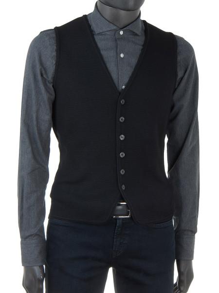 Black Merino Wool Waist Coat