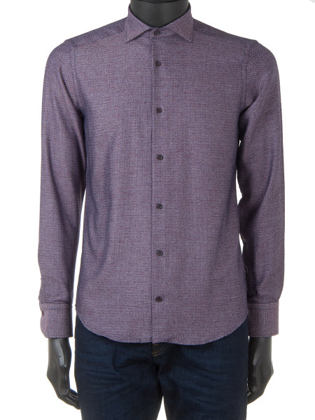 Burgundy Cotton Twill Shirt