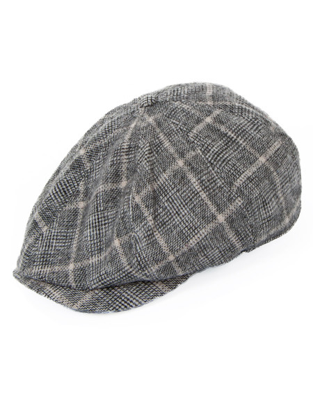 Grey Checked Flat Cap