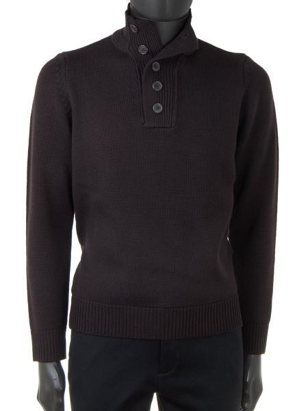 Dark Brown Button-Up Turtleneck Sweater