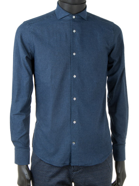 Denim Blue Cotton Flannel Shirt