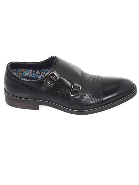Black Double Monkstrap Shoe