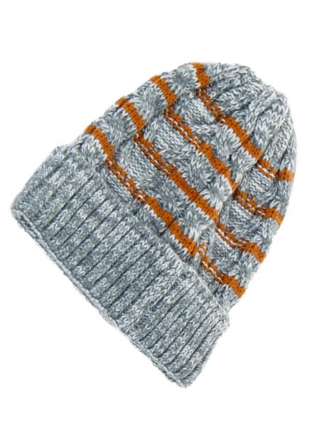Grey Melange Striped Beanie
