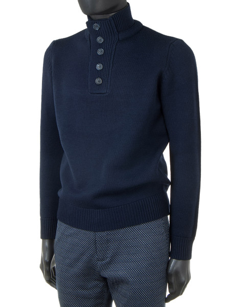 Navy Button-Up Turtleneck Sweater
