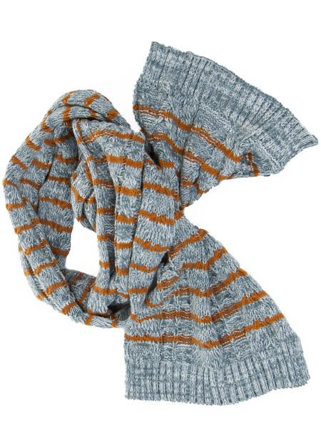 Grey Melange Striped Scarf