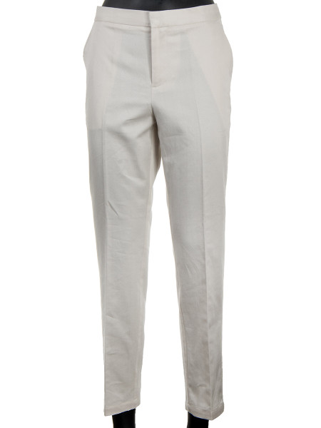 Tailored Herringbone Pants Off White