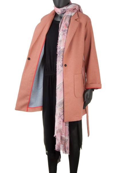 Wool Blend Short Coat Pink