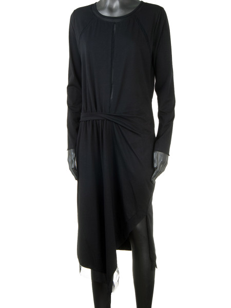Black Party Dress With Mesh Hems