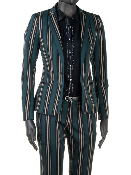 Multi-Coloured Striped Suit Blazer