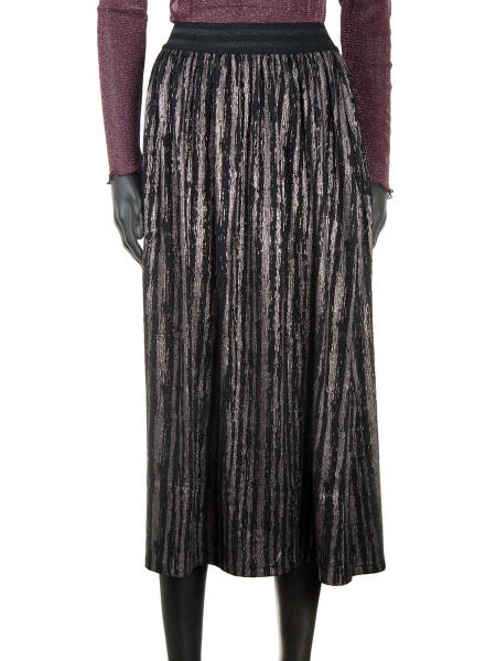 Metallic Pleated Striped Skirt