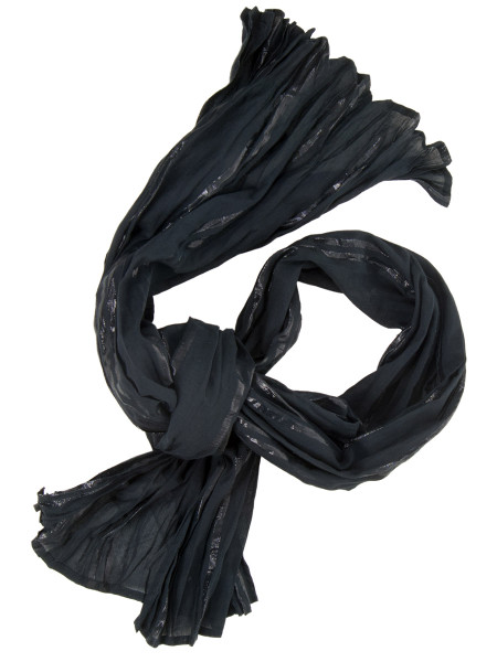 Black Striped Cotton Scarf