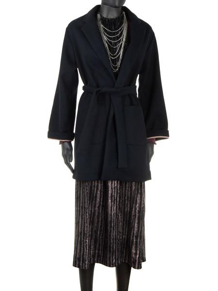 Wool Blend Short Coat Black