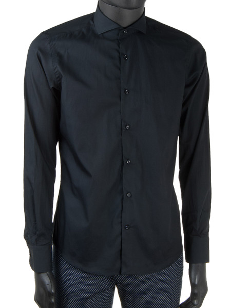 NEW Black Oxford Cotton Cut-Away Collar Shirt