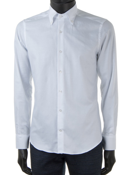 White Oxford Cotton Buttoned-Down Collar Shirt