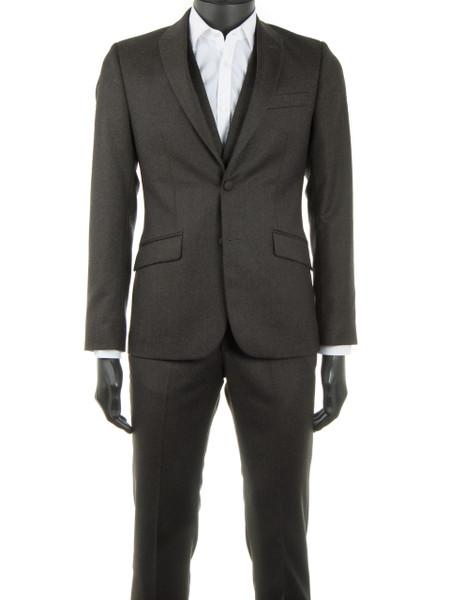 Khaki Wool Flannel 2 Piece Suit