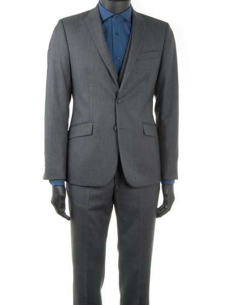 Midgrey Sharkskin Wool 2 Piece Suit