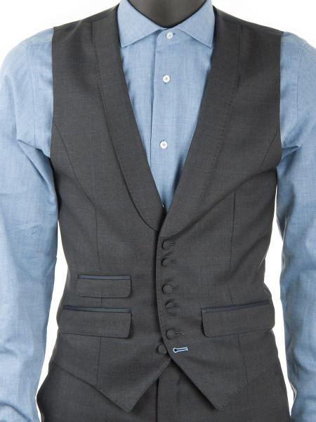 Charcoal Windowpane Check Waistcoat
