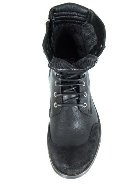 High Top Black Boots with Suede Detail