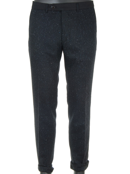 Black Fleck Nepped Wool Dressed Trousers