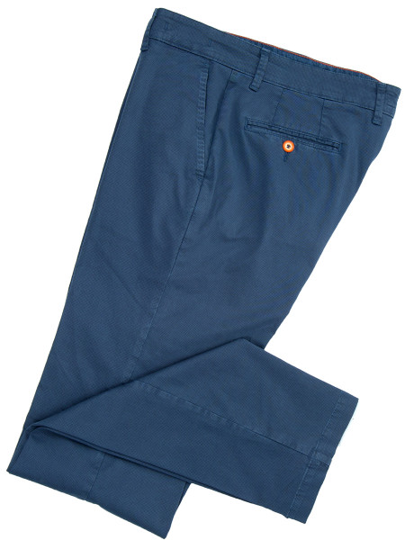 Ocean Blue Textured Cotton Chinos