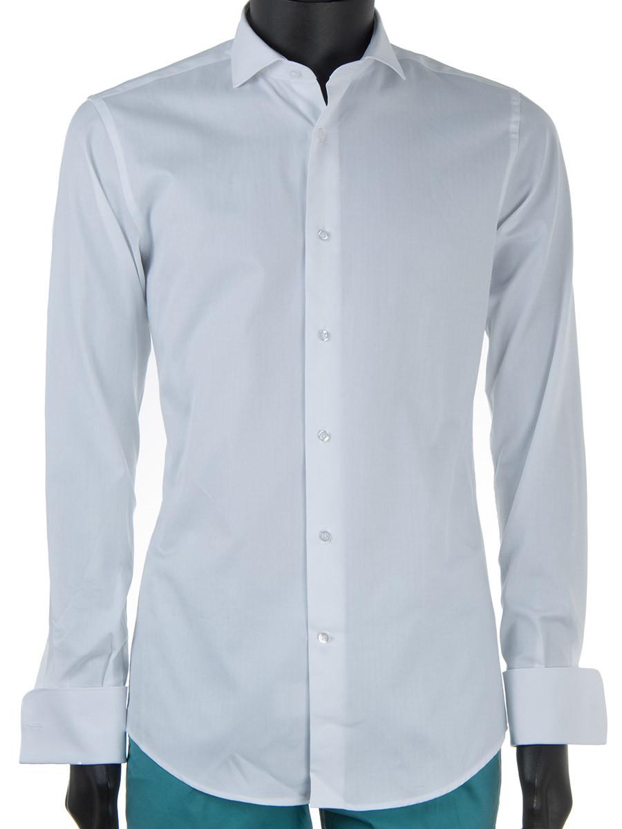 White Poplin Cotton Double Cuff Dress Shirt Oscar Milo