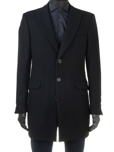 Classic Black Single-Breasted Wool Top Coat